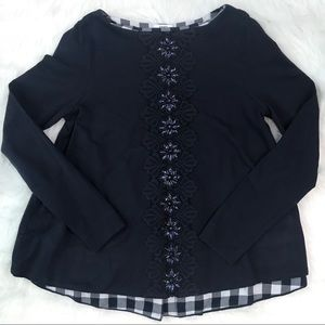 Crown & Ivy Top Sweater Navy Blue Beading